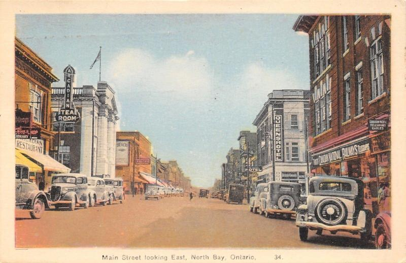 North Bay Ontario~Main Street~Arcadian Tea Room~Canadian Nat'l Railways~1939 PC
