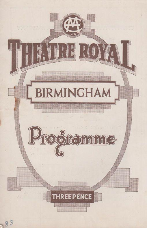 Ronald Squire Springtime For Henry Theatre Royal Birmingham Benn Levy Programme