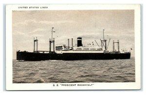 Postcard SS President Roosevelt, United States Lines T23
