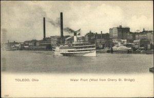 Toledo OH From Cherry St. Bridge Steamer Ship c1910 Postcard