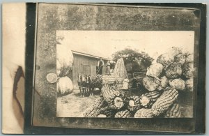 FARMERS HORSE WAGON CORN CABBAGE EXAGGERATED ANTIQUE REAL PHOTO POSTCARD RPPC