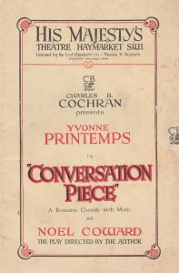 Conversation Piece Romance Yvonne Printemps Noel Coward London Theatre Programme