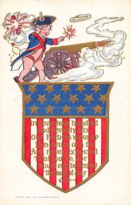 Patriotic Greetings Baby Lighting Cannon Antique Postcard J75652