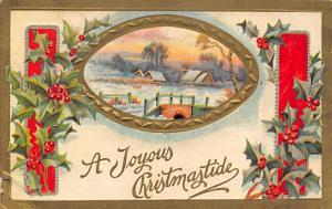 Christmas Post Card Old Vintage Antique Xmas Postcard Damaged Unused