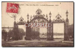 Old Postcard Lyon Park head of the Monumental Gold Grid