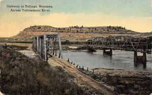 Billings MT Railroad and Wagon Bridges (Both Gone?) Over the Yellowstone c1907