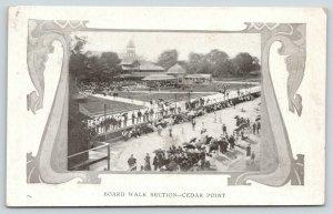 Cedar Point Ohio~Art Nouveau~Board Walk Section of Amusement Park~1905 UDB B&W