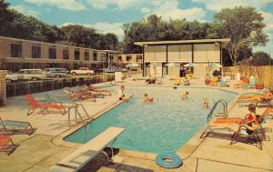 Dearborn Michigan~Fairlane Inn Motel~Poolside Station Wagons~1950s Cars~Postcard