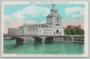 Cedar Rapids Iowa~Memorial Coliseum City Hall Chamber of Commerce~1920s Postcard