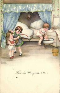 Artist Signed Hannes Petersen, Little Girls getting Ready in the Morning (1929)
