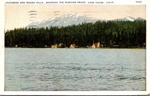 California Lake Tahoe Chambers and Moana Villa Showing The Rubicon Peaks 1936