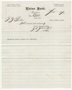 1873 Letterhead, UNION BANK, Providence, Rhode Island