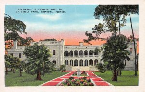 Residence of Charles Ringling, Sarasota, Florida, Early Postcard, Unused