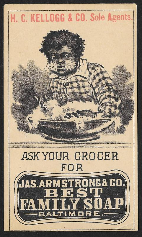 VICTORIAN TRADE CARD Armstrong Co Family Soap Black Boy Washing Himself