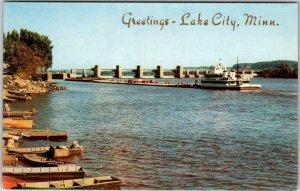 1960s LAKE CITY Minnesota Greetings Postcard Government Dam Mississippi River