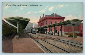 Postcard MD Cumberland Western Maryland Railroad Station Depot Train Arriving S6