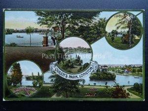 Stoke LONGTON Queens Park 5 Image Multiview - Old Postcard by W Shaw of Burslem