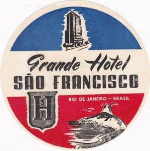 Brasil Rio De Janeiro Grande Hotel Sao Francisco Vintage Luggage Label sk4670