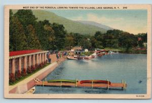 Postcard NY Lake George West End Pergola View To Village Vintage Linen E02