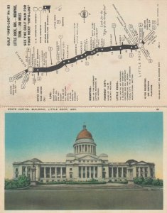 LITTLE ROCK , Arkansas , 1910-30s ; State Capital Building ; Attached Map
