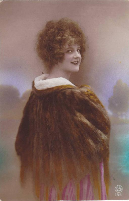 RP; Hand-tinted, Attractive young woman posing with fur shawl (2), 00-10s