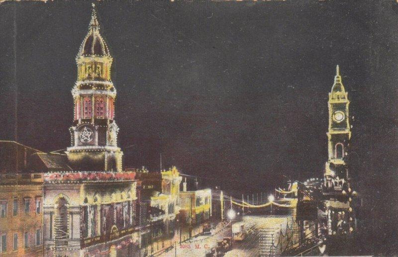 ADELAIDE , Australia , 1900-10s; King William Street illuminated at Night