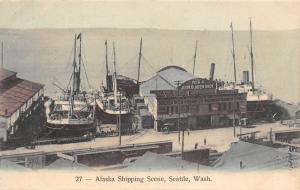 Seattle WA~Alaska Shipping Dock~Pier 6~Gordon Dock & Grain~Dolye~1908 Handcolor