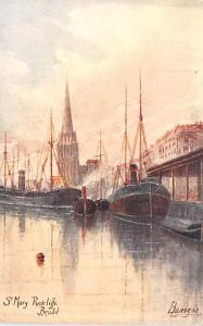 Sail Boat Postcard Old Vintage Antique Post Card St Mary Redcliffe Bristol, B...