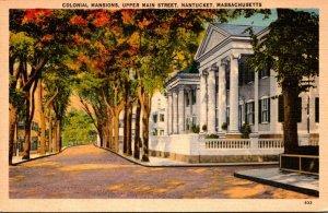 Massachusetts Nantucket Colonial Mansions On Upper Main Street