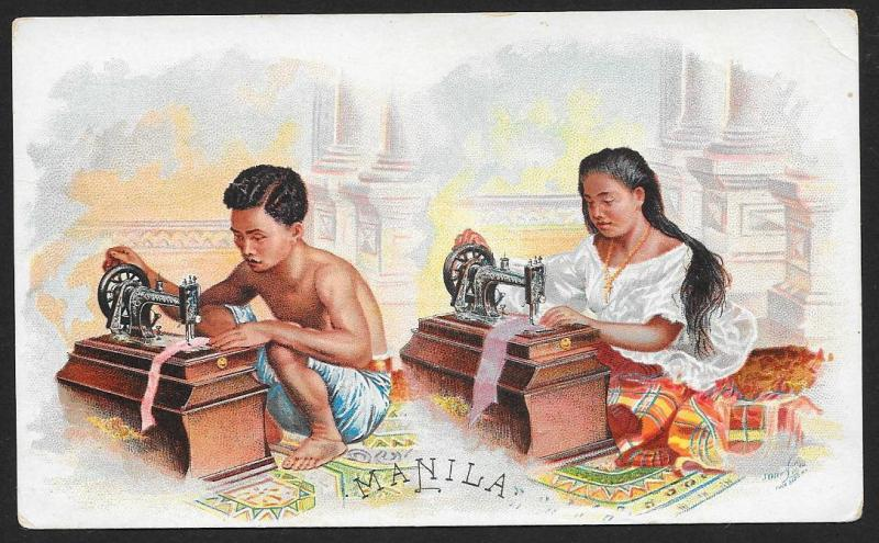 VICTORIAN TRADE CARD Singer Sewing Machine Manila Philippines Boy & Girl Sewing
