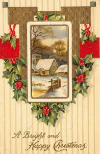 Christmas~Snowy Village Vignette~Holly Berry~Gold Red~Pinstripe Back~Emboss~IAPC