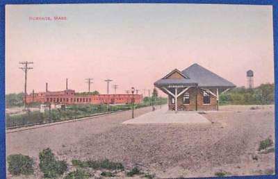 Burrage MA Railroad Train Station Depot Postcard