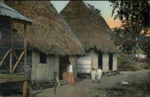 Chiman Interior of Panama Street Scene Native Homes c1910 Postcard