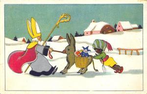 Christmas Gray Suited Santa Claus Donkey Child Belgium Postcard