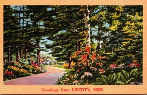 Mississippi Greetings From Liberty Forest Road Scene