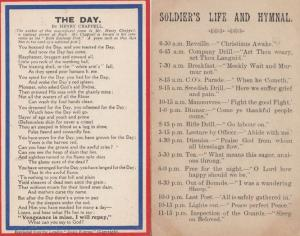 Soldiers Life & Hymnal The Day 2x Military Army Old Poem Postcard s