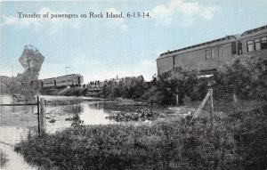 D72/ Luverne Minnesota Mn Postcard c1910 Rock River Railroad Transfer Passengers