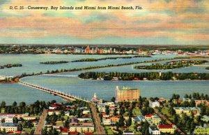 Florida Miami Causeway and Bay Islands From Miami Beach Curteich