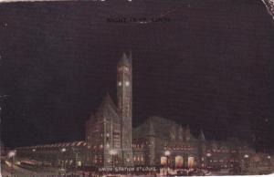 Union Railroad Station At Night St Louis Missouri 1916