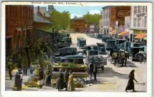 Chatham, Ontario Canada Postcard Market Street Scene Vendors Horse Wagons 1925