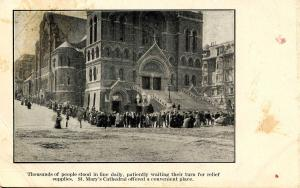 CA - San Francisco. April 1906 Earthquake & Fire. St Mary's Cathedral, People...