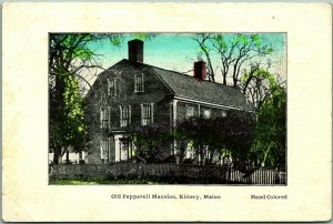 KITTERY, Maine Postcard Old Pepperell Mansion House View HAND-COLORED c1910s
