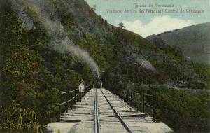 venezuela, Viaducto de Lira del Ferrocarril Central, Steam Train (1910s)
