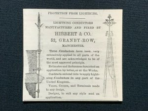 1862 Advert, Hibbert & Co., 52 Granby Row Manchester, Lightning Conductors