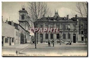 Old Postcard Givors Bank Caisse d & # & # 39Epargne and 39eglise St Nicolas
