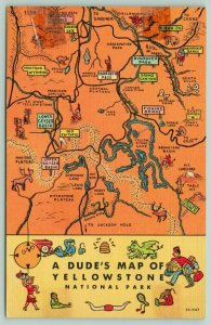 Yellowstone National Park Wyoming~A Dude's Map~Rivers~Dragon~Bee Hive~1952 Linen