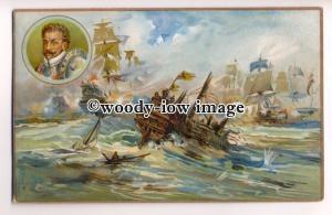 na2340 - Spanish Armada 1588 - artist  - Prices Candles Advert - postcard