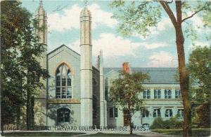 Cambridge MA~Harvard College~Twin Towers, Big Window @ Gore Hall~1910 Postcard