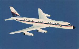 Delta Air Lines Convair 880 Jetliner, 1965 Postcard, Used with Delta Air Label