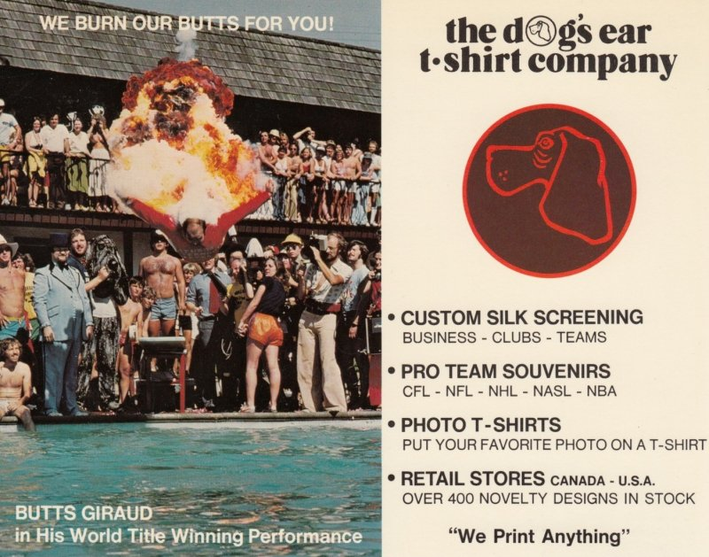 VANCOUVER , B.C., 1970s; The Dog's Ear T-shirt Co., Butts Giraud doing bellyflop